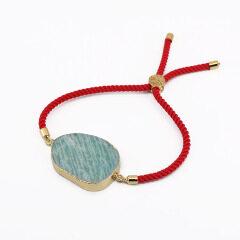 BN4012 wholesale amazon stone jewellery, natural amazonite stone Rope Friend bracelet jewelry for women