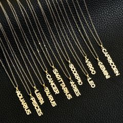 NS1086 Star Constell IP Gold Plated Stainless Steel Horoscope Zodiac Sign Vertical Bar Pendant Necklace