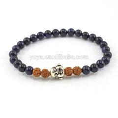 SS1623 wholesale blue goldstone round beads bracelet,925 sterling sliver bracelet, sliver jewelry