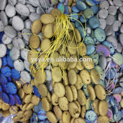AB0620 Titanium plated geode agate flat oval beads,druzy agate oblong beads