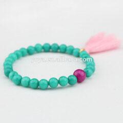 BRH1058 tassel bracelet,blue turquoise beaded bracelet with tassel