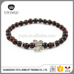 BAA1709 Hight quality gemstone breciated jasper with butterfly charm elastic bracelet for gift