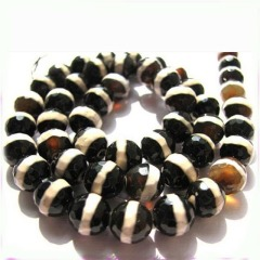 AB0242 Faceted dzi beads,Stripe Tibetan Agate Beads
