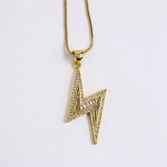 NZ1099 Dainty 18k Gold Plated CZ Micro Cubic Zirconia Diamond Thunder Lightning Bolt Charms Chain Necklace for Women