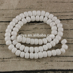 MJ0227 Fashion white jade stone rondelle spacer beads