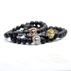 BRA1111 Fashion Black Onyx Beaded Bracelet,Silver Gold Rose Gold Lion Head Bracelets For Men