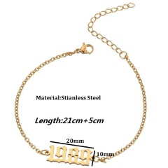 AC1012  ,Birthday Foot Jewelry Gift Good Quality Minimalistic Personalized Birth Year Ankle Bracelets Anklets