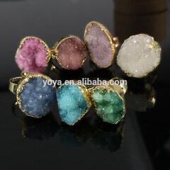 RG1043 Wholesale Natural Quartz Druzy Stone Adjustable Ring
