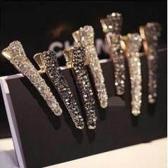H1012 Bling Rhinestone Crystal Pave Metal Pearl Beak Duckbill Alligator Hair Clip Pin Hair Accessories Headwear for Women Girls