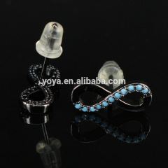 EC1073 Top selling CZ micro pave turquoise 8 shape earring,Cubic zirconia studs earring