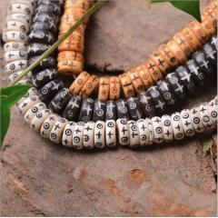 OB0110 White Black Brown Natural Ox Bone Carved Disc Heishi Rondelle Spacer Beads