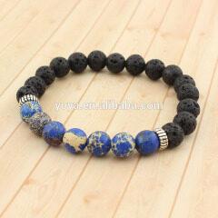 Hot SS1609 wholesale supplier imperial jasper & lava 925 sterling sliver bracelet, sliver bracelet jewelry