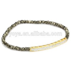 BR0084 Crystal Pave Bars Bracelet,High Quality Pyrite Beads Bar Bracelet