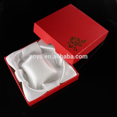 BP0708 Cheap Red Flower printed silk filled paper bracelet boxes,red pink paper jewelry gift box