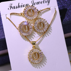 Bling Jewelry Clear Cubic Zirconia Alphabet Letter Earring, Pendant Necklaces and Bracelet A-Z Initial jewelry sets for Women