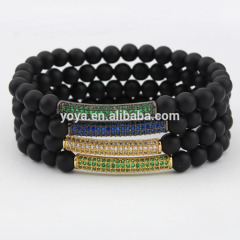 BRB1061 High quality black onyx beaded cz micro pave bar Bracelets