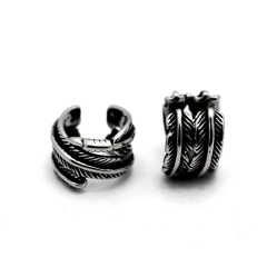 ES1025 High Quality Gothic Stainless Steel  Feather Ear Clip ,Ear Cuffs,Stud Earrings
