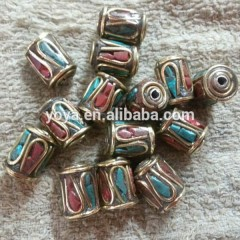 NB0075 Fashion handmade tube nepal nepalese beads with turquoise and coral inlayed