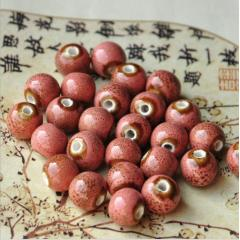 CC1852 Retro Jewelry Ceramic Beads, Handmade Pottery Porcelain Round Beads for Jewellery Making