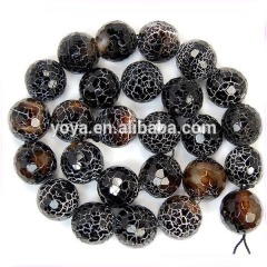 AB0123 Black matte frosted agate onyx beads,cracked fire agate onyx beads,matte black onyx beads