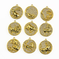 CZ6856 wholesale plated gold lovely animals cz micro pave pendant finding jewelry