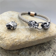 BS3004 Locking leopard head clasp leather bracelet,manly stainless steel bracelet