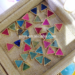 JF7202 New style mini gold plated agate druzy triangle charm pendant