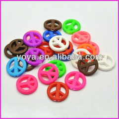GP0819 Fluorescent Neon Rubber Acrylic Peace Sign Beads,Neon Matte Resin Peace Beads