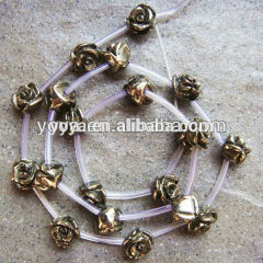 PB1094 natural pyrite gemstone carved rose flower beads for jewelry making