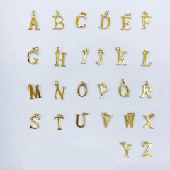 JS1510 High Quality Small Thin Mini 18k Gold Plated Small Alphabet Initial letter charm pendant