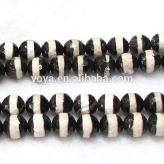 AB0053 Black and White Striped Tibetan Agate Beads