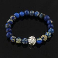 BRA1236 Hot selling blue sea sediment jasper bracelet with charm,men's silver lion head bracelet