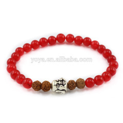 Wholesale fashion SS1624 natual red jade beads bracelet with buddha head jewelry, 925 sterling sliver bracelet for gift