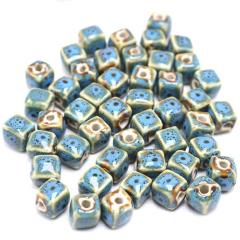 CC1822 Vintage Square Ceramic Beads, Handmade Pottery, Porcelain Beads for Jewellery Making