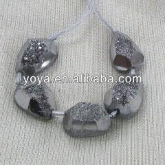 AB0313 Mystic Titanium Silver Druzy Agate Stone Faceted Nugget Beads