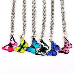 NM1026 Chic Rainbow Enamel Butterfly Charm Pendant Chain Necklace for Girls Ladies
