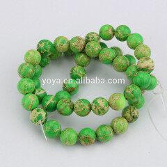 SM3013 Wholesale price sea sediment round beads,gemstone green imperial jasper beads