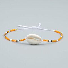 BE1013 Dainty Minimal Delica Miyuki Seed Beaded Cowrie Shell Adjustable Friendship Bracelets