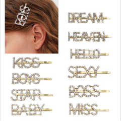 H1001 Fashion Gold Word Barrettes Bling Rhinestone Crystal Words Letters Hair Clips Hairpins Babby Pins