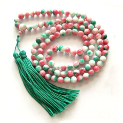 NE2019 Jade 108 beads rosary necklace, big tassel necklace