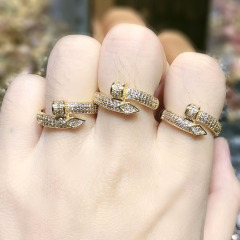 RM1121 Hot Sale Delicate Bling 18K Gold Plated Diamond Cubic Zirconia CZ Pave Nail Rings for Women Girls