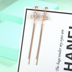 ES1050 Rose Gold Plated Surgical Stainless Steel Long Dangle Butterfly Drop Tassel Chain Earrings for Women