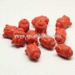 GP0829 Fashion orangered orange resin buddha head beads