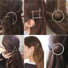 H1008  Minimalist Geometry Geometric Gold Hair Slide Gold Hairpins Hair Clips