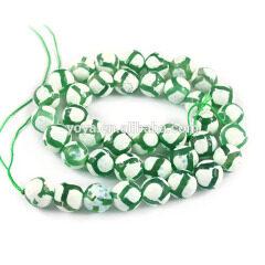 AB0068 Green Football Tibetan agate beads, Giraffe tibet dzi tibetan beads