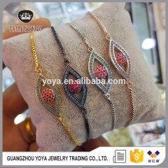 BRZ1347 Popular adjustable red evil eye bracelet,CZ micro pave evil eye charm chain bracelet jewelry