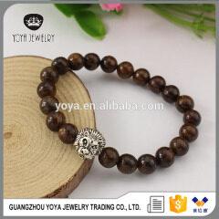 BRA1205 Fashion natural bronzite beads bracelet,brown gemstone mens bracelet with lion head