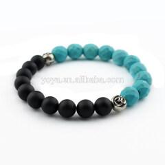 SS1615 wholesale matte onyx & turquoise gemstone bracelet, 925 sterling sliver elastic bracelet,