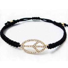 BRN1160 Fashion Macrame Peace Sign Rope Bracelet