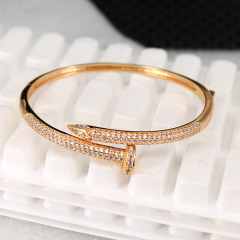 BA1020 Popular Womens Gold plated CZ Micro Pave Nail Bangles Bracelets